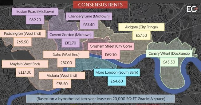 Newton Perkins City of London Office Space Central London Rental Map